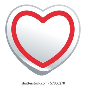 Simple image symbol heart in the form of sticker