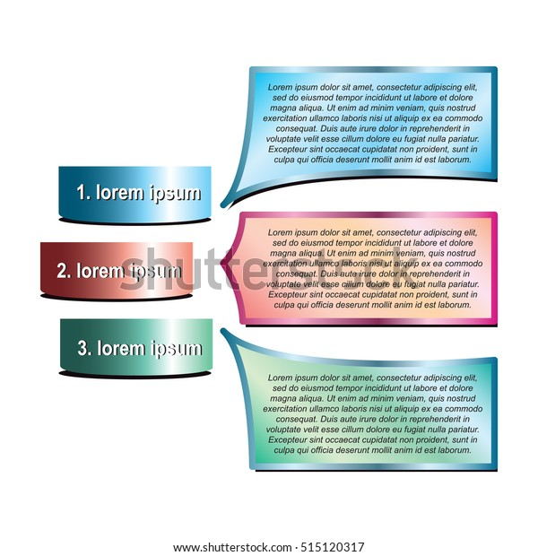 Simple Infographic Design Three Sections Subsections Stock