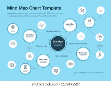 Simple infographic for mind map visualization template with circles and several icons, isolated on blue background. Easy to use for your website or presentation.
