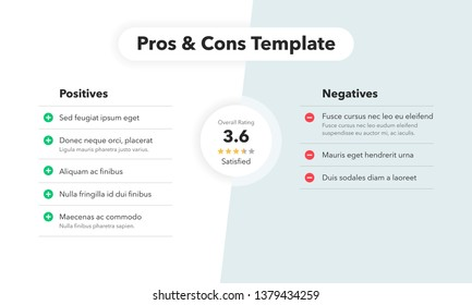 Simple infographic for pros and cons with overall rating. Easy to use for your website or presentation isolated on light background.