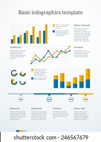 Simple infographics page template. Blocks af text, graphs and data. EPS10 vector.