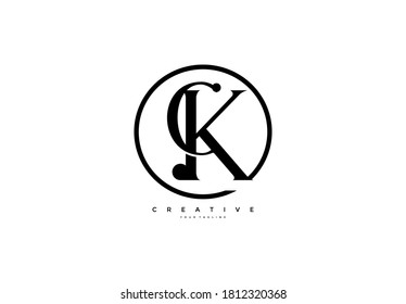 simple initial CK monogram serif circle style logo