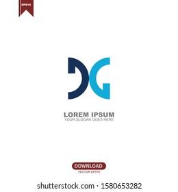 Simple initial DG logo vector design