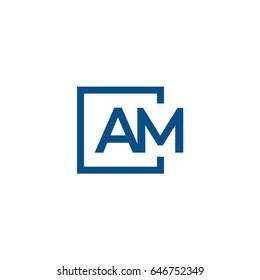 Simple AM initial Logo designs template, Vector illustration