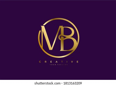 simple initial MB monogram serif circle gold style logo