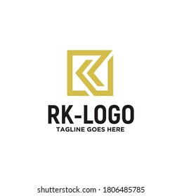 Simple Initial R & K, Monogram RK KR with modern square logo design