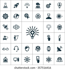 Simple innovation icons set