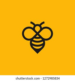 simple insect bee logo made with line art style vector graphic download