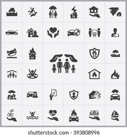 Simple insurance icons set. Universal insurance icons to use for web and mobile UI, set of basic UI insurance elements