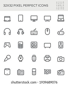 Simple Interface Icons Related to Devices. Gadgets, Computer Equipment, Electronics. Editable Stroke. 32x32 Pixel Perfect.