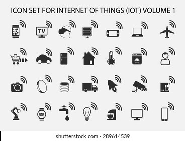 Simple internet of things icon set. Symbols for IOT with flat design.