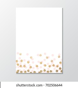 Simple invitation background with gold glitter dot and pink circles border.