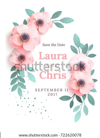 simple invitation template pink flowers design stock vector royalty