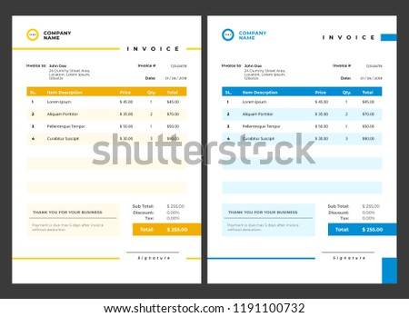 Simple Invoice Design Template Stock Vector Royalty Free