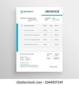 simple invoice vector template design