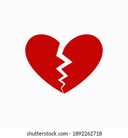 simple isolated broken heart shape on white, symbol of love for romantic opportunity element like Valentines card, background, wallpaper, texture, banner, label, logo, icon, sign etc. vector design.
