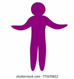 Simple isolated human figure vector in flat purple with  both arms raised at sides.   Suitable for a variety of poses, including hugging and shrugging.  Transparent background in vector file.