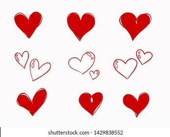 simple isolated red hand drawn heart symbols element for decorating background, wallpaper, texture, banner, label etc. in romantic time. vector design.