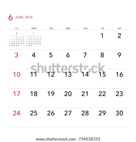 simple june 2018 calendar week starts from sunday