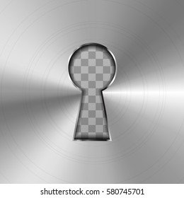 Simple keyhole in bright glossy metal plate on transparent background