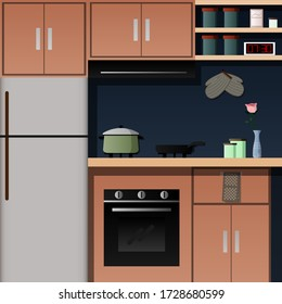 Simple kitchen set iustration for home coocking.