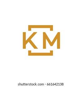 Simple KM initial Logo designs template vector illustration