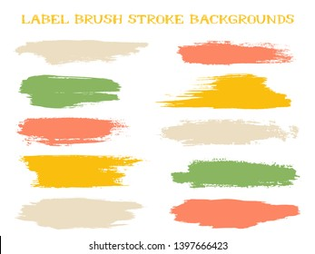 Simple label brush stroke backgrounds, paint or ink smudges vector for tags and stamps design. Painted label backgrounds patch. Interior paint color palette elements. Ink dabs, green red splashes.