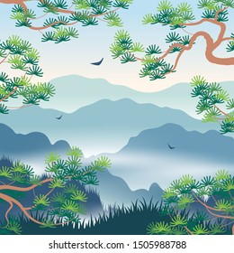 Simple landscape with blue foggy mountains and  Korean Pine branches. Nature background with serenity oriental scene. Vector flat illustration.