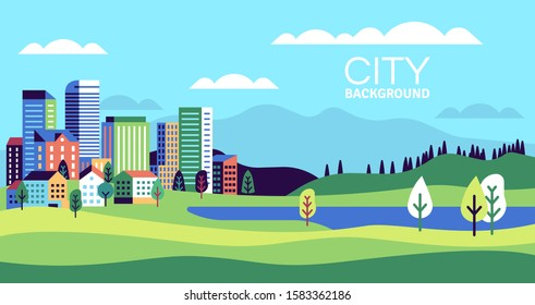 Simple landscape with buildings. Urban skyline residential houses, green trees and hill, summer cityscape banner, websites vector background with minimalism city and lake