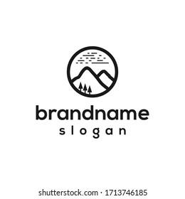 simple lanscape mountain logo design template