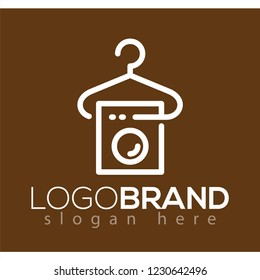 simple laundry logo with line art vector element. laundry logo template
