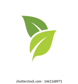 simple leaf green logo template