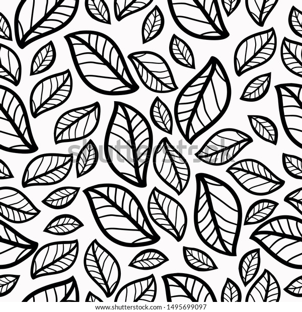 Simple Leaf Pattern White Background Black Stock Vector