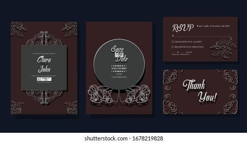simple leaf wedding invitation set