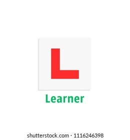 simple learner driver plate icon. cartoon flat style trend modern driving school logotype graphic art design element. concept of badge for vehicle control education or exam or learning for chauffeur
