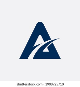 Simple Letter A, Flat Logo Template in Blue Color