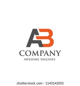 simple letter AB color vector logo concept