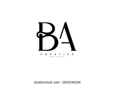 Simple letter BA monogram stylish type design logo