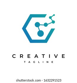 Simple Letter C+TECH Logo Design, Vector