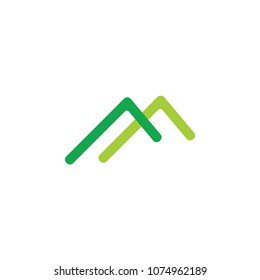 simple letter m green mountain roof logo
