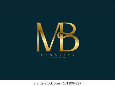 Simple letter MB monogram stylish type gold design logo
