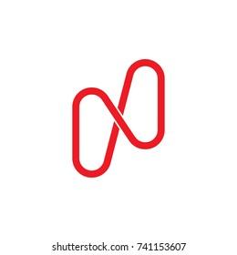 simple letter n h line art logo vector