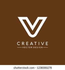Simple letter V logo design Vector