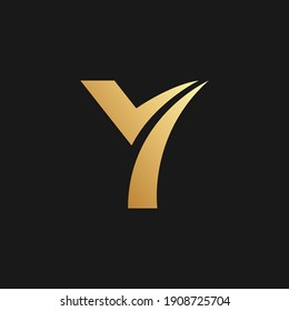 Simple Letter Y, Flat Logo Template in Gold Color on Black Background