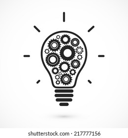 Simple light bulb conceptual icon with gears inside. Vector illustration