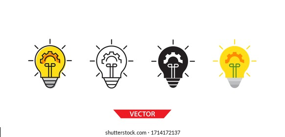 Simple light bulb with gear icon on white background 4 types such as outline, black, color, outline and color. Vector illustration.