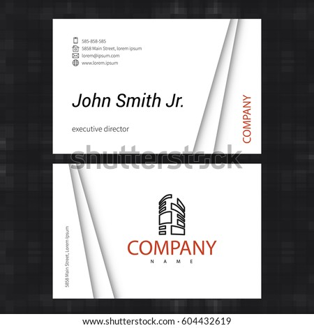 simple light business card template standard stock vector royalty