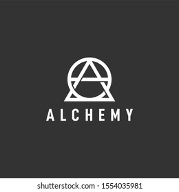 simple line art alchemy logo