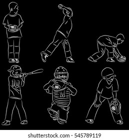 Simple line art of baseball positions pitching, hitting, catching and fielding vector illustration line art doodle on black background.