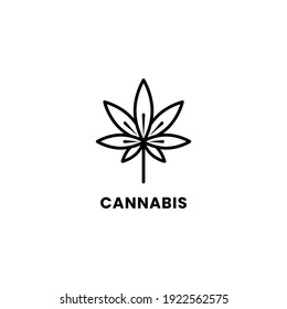 Simple Line art Cannabis or Hemp Logo Template. Vector image of a leaf of marijuana. The isolated picture on white background. Celtic pattern, linear graphics, brevity, logo.